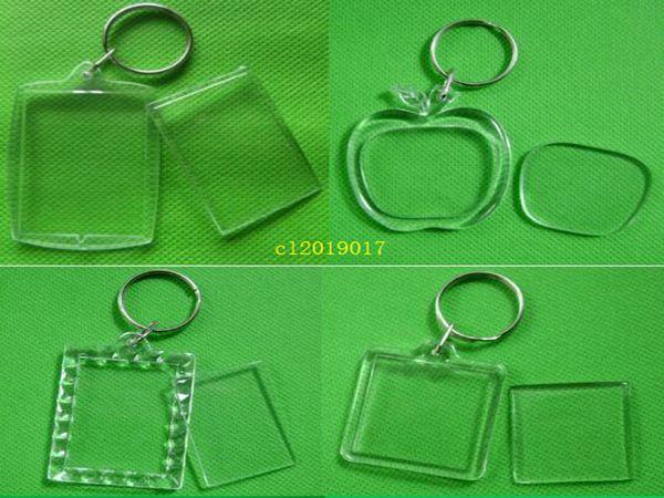 best selling 12 Style DIY Acrylic Blank Photo Key Chains T-shirt Shape Key Chains Insert Photo Key Rings
