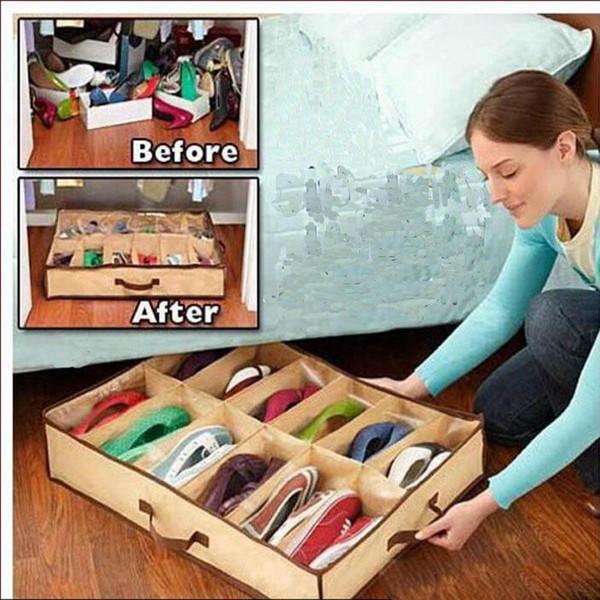 Yeni Tasarım 12 Pair Bez Kumaş Ayakkabı Depolama Organizer Tutucu Ayakkabı Organizatör Kutusu Dolap 67 * 56 * 15 cm Ev için ues sıcak