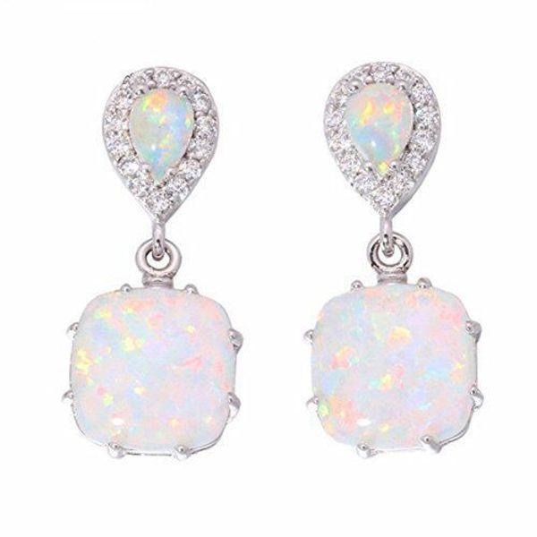 OPAL gümüş Renk elmas Küpe Kare opal saplama küpe kadın Zarif Markiz kolye Düğün Takı Hediye