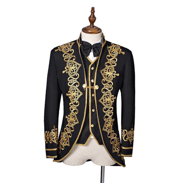 Nova Moda Um Botão Preto Bordado Noivo Smoking Gola Men Ternos 3 peças de Casamento Prom Blazer (Jacket + Pants + Vest) W500