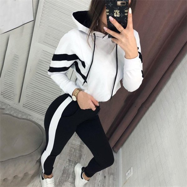 Двойной цвет панелями женщин дизайнер 2 шт. Костюм с круглым вырезом пуловер женская балахон спортивная одежда мода пара одежда