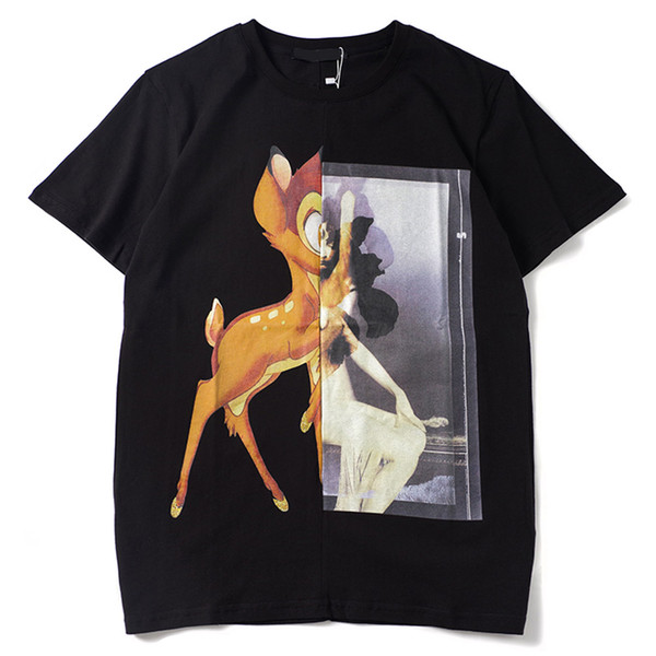 New Men Designer T shirt women Paris brand clothing Tshirt 3D Sika deer with woman printed T-shirt High quality 100% cotton male Top Tees