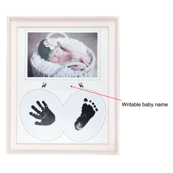 PVC Pegada Decoração de Casa Almofada de Tinta Aniversário Photo Frame Pendurado Presente Da Parede Quarto Handprint Kid Bebê Recém-nascido Fotos