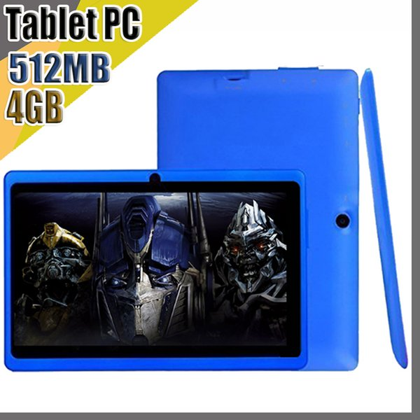 2019 cheap tablets wifi 7 inch 512MB RAM 4GB ROM Allwinner A33 Quad Core Android 4.4 Capacitive Tablet PC Dual Camera facebook Q88 A-7PB
