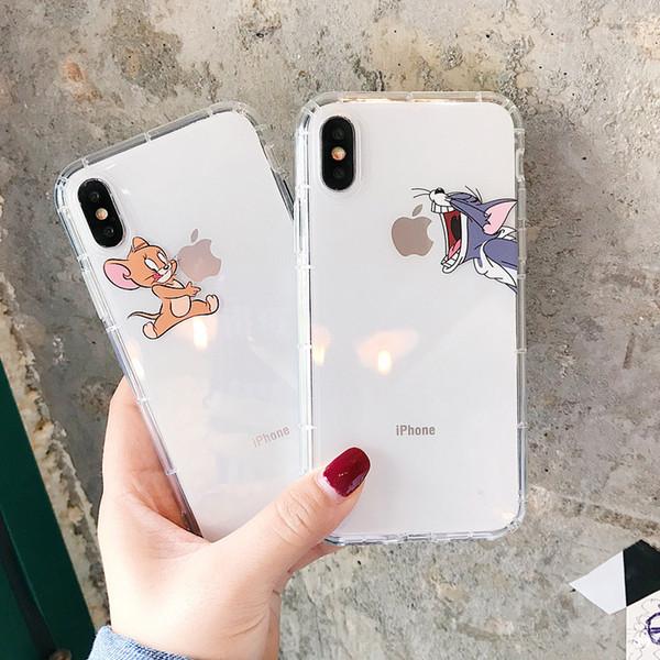 Забавный мультипликационный чехол для телефона для iPhone X XS Max XR Cute Cat Tom Чехол для iPhone 8 7 6 6S Plus Мягкий силиконовый прозрачный прозрачный чехол