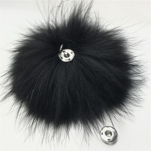 "10pcs-15cm/6""Black- Real Raccoon Fur PomPom Ball For Hat Cap Coat Shoes Accessaries w Button"