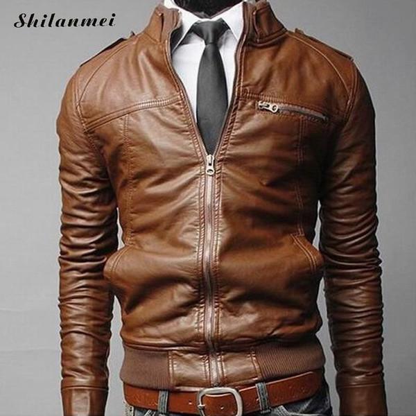 Nueva llegada chaqueta de cuero de la motocicleta hombres, chaquetas de cuero de los hombres chaquetas flojas sólidas ocasionales abrigos con bolsillos 2018