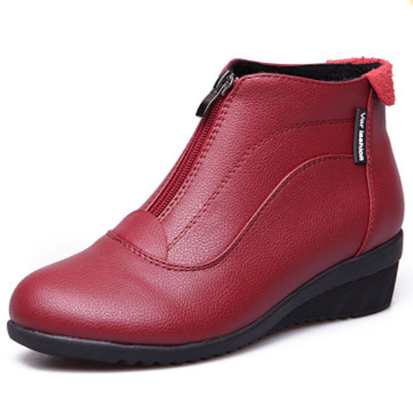 2019 Women Boots Shoes Woman Ankle Boots Fur Shoes Zip Ladies Boots Leather botas mujer Black white red