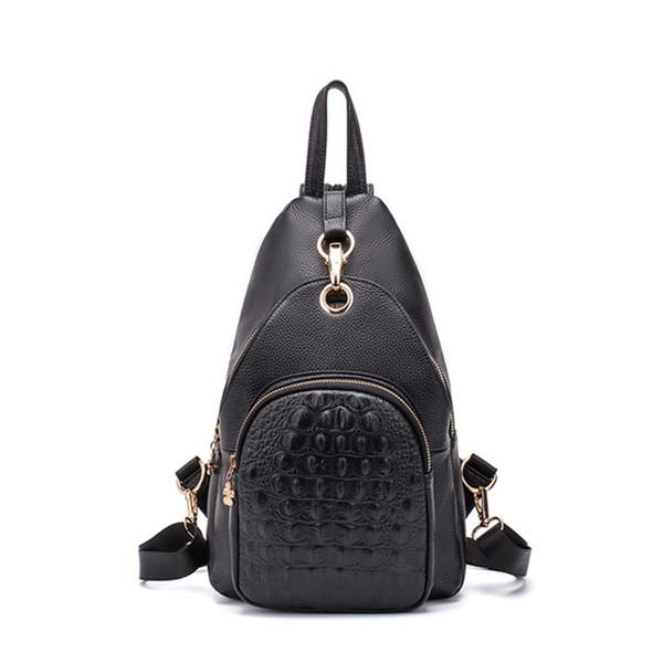 Crocodilo mochila de couro de qualidade superior das mulheres multi-função bolsa de ombro moda casual mochila mulheres no peito saco