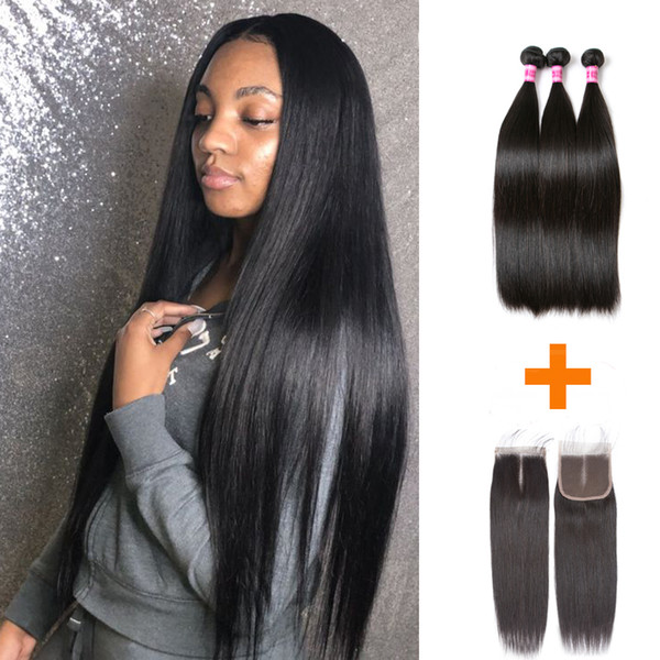Brazilian Straight Human Hair With Closure Brazilian Virgin Hair 3 Bundles With Lace Closure Natural Hairstyles Colors
