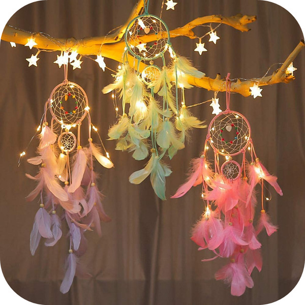 led dream catcher purple feather chandelier ornaments handmade indian wall decoration for wall decor hanging home decor 25 inch
