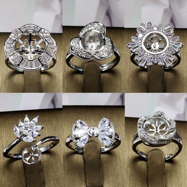 Brillante! Big Pearl Ring 925 Silver DIY Pearl Rings Impostazione Zircone Anello per le donne Anello dei monili di modo per dimensione regolabile regalo di San Valentino