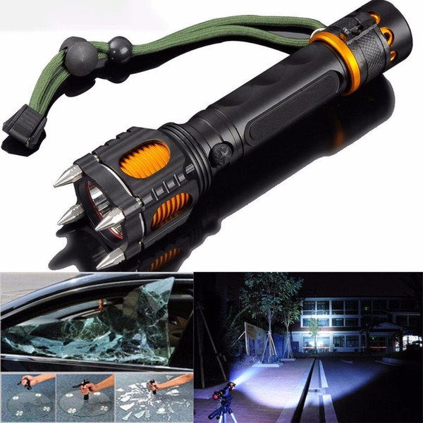 Free DHL 2000Lumens Zoom Tactical Flashlight T6 LED Rechargeable Torch Lamp Self Defense Tool Powerful Lantern with Hammer Alarm for Camping