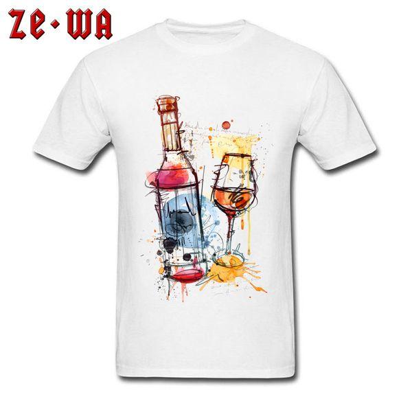 72998775 Oktoberfest T-shirt Art Design Men T Shirt Red Wine Bottle Printed Clothing  Graffiti White