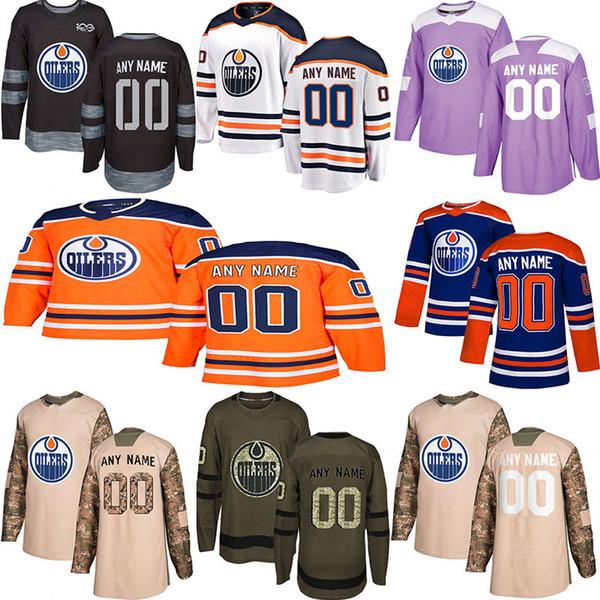 2018-2019 Haber Edmonton Oilers Hokey Formaları Çoklu stilleri Mens Özel Herhangi Adı Herhangi Numara Hokey Formaları