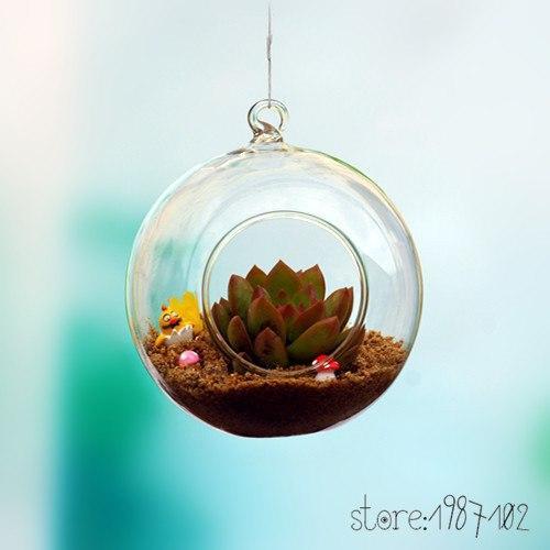 Glass Terrarium Ball Globe Shape Clear Hanging Vase Flower Air