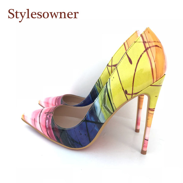 Stylesowner Top Sexy Lady New Pumps Shoes Sexy 12cm Heel Shallow Mouth Pointed Toe Party Shoe Yellow Color Match Nice Shoe Mujer