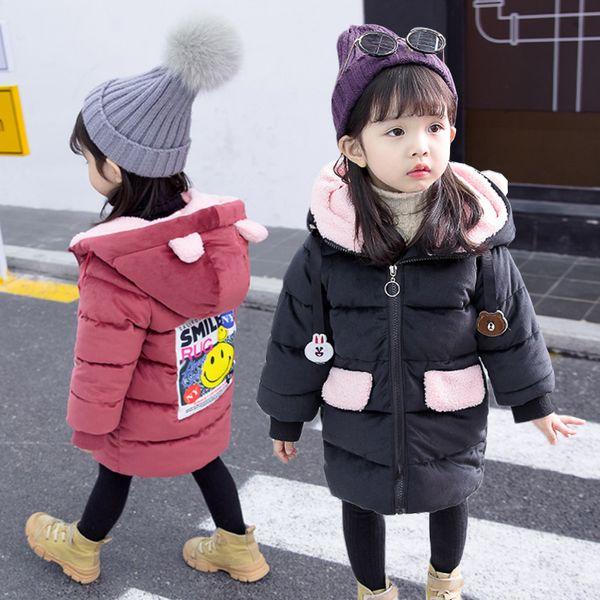 Estilo coreano meninas acolchoado roupas de algodão Inverno estilo ocidental Crianças Liz Velvet Jacket acolchoado Quente Mid-comprimento do bebê