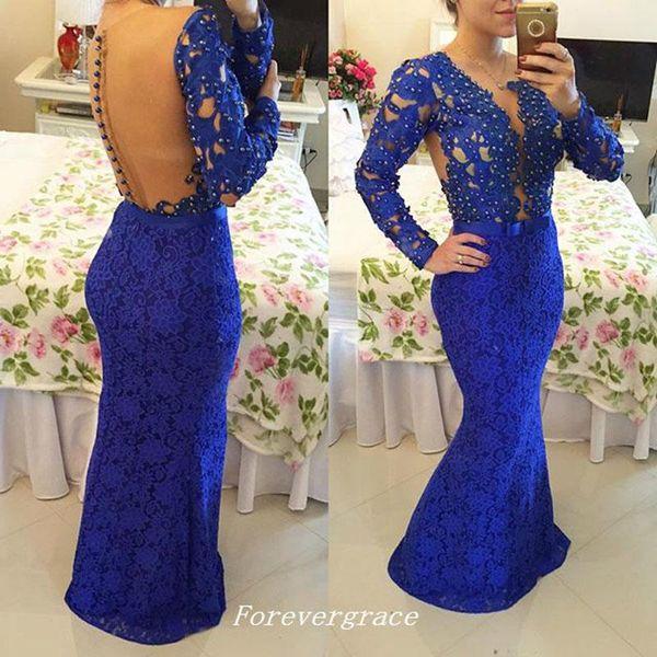 Royal Blue soir en dentelle robe à manches longues sirène Illusion femmes Pageant Porter Special Occasion Dress Party robe Custom Made Plus Size
