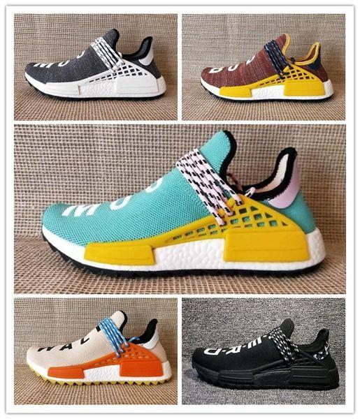 Adidas PW HUMAN RACE NMD Новый след человеческой расы Солнечной афро пакет кроссовки Мужчины Женщины крем ботаник Фаррелл Уильямс ху Бегун SOLARHU дизайнер случайные спортивные