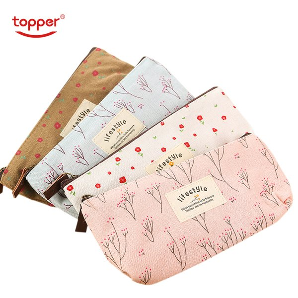 Cute Kawaii Floral Flower Canvas Zipper Pencil Cases Lovely Fabric Tree Pen Bags School Supplies 1pcs Free Shipping