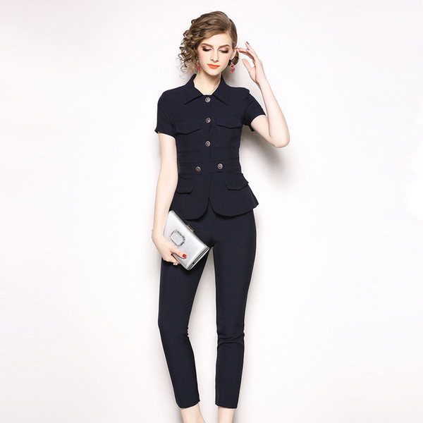 Fashion Temperament Women Pant Suit OL Formal Business Slim Short Sleeve Blazer and Trousers Office Ladies Work Wear Women's Two Piece Pants