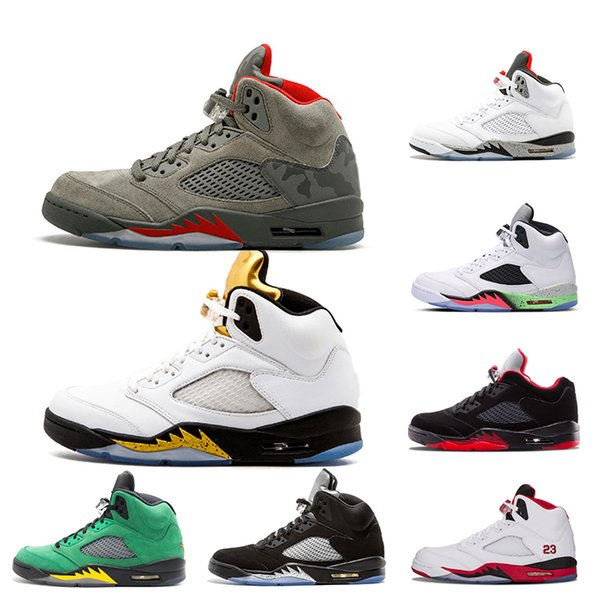 5 Camo Olympic Gold Basketball Shoes 5s V Oreo Fire Red white cement Alternate Oregon ducks Trainers Sneakers For Men Sports shoes 40-47