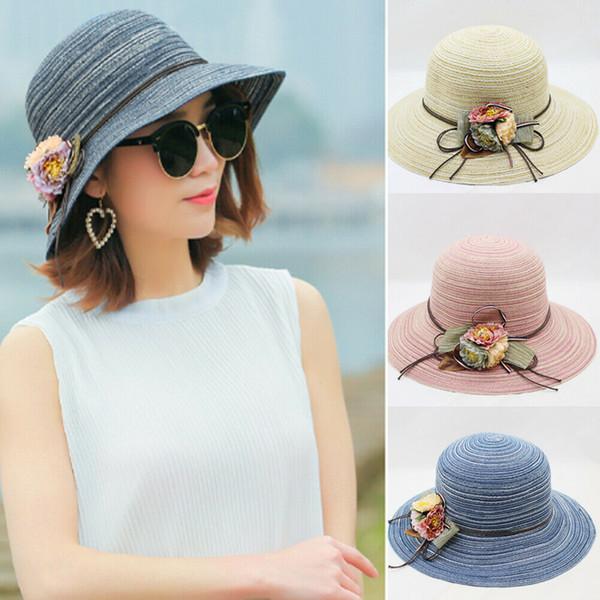 Mulheres Lady Girl Fashion Summer Beach Médio Brim dobrável de viagem Sun Straw Hat Cap Holiday Design Férias Flor Casual Chapéu de Sol