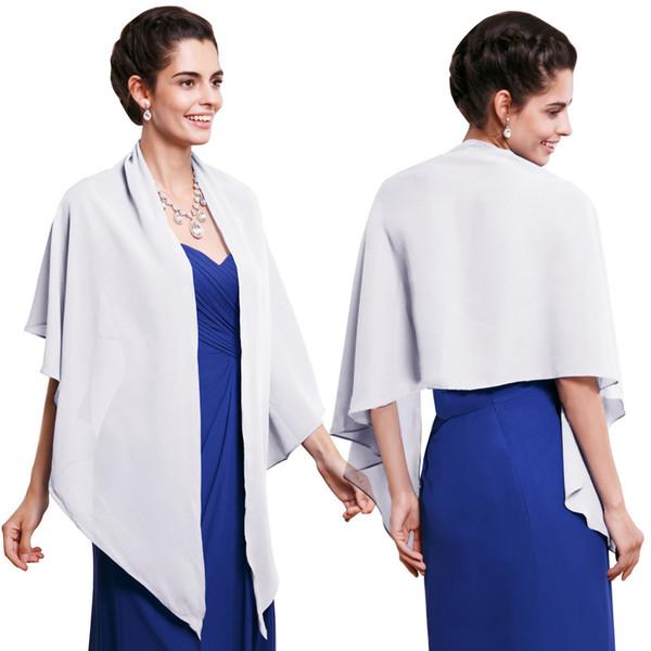 20 cores Chiffon Nupcial Wraps Para nupcial e Dama de honra mulheres cachecol Azul Royal Prata Borgonha xale para a Festa À Noite ocasião CPA407