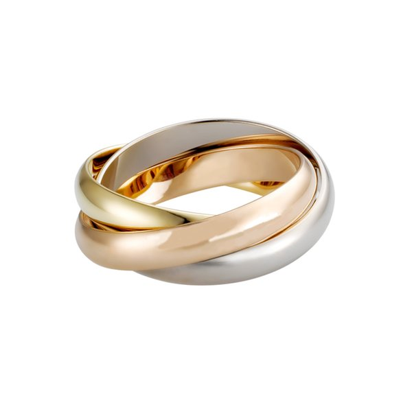 Luxury Titanium Steel Ring Gold Silver Rose Carter Three Layers Trinity Rings for Women Girls Anillos Wedding Bands with logo bag