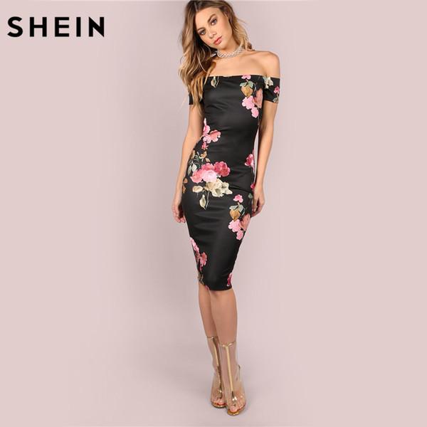 Compre Shein Vestidos De Fiesta Sexy Vestido Ajustado Con Hombros Descubiertos Bardot Negro Escote Floral Hasta La Rodilla Vestido Elegante A 2558