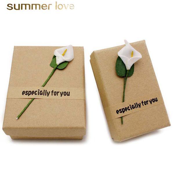 Precio de fábrica Caja de papel de cartón de papel kraft hecha a mano 50 * 80 mm flor especial para usted joyería caja de regalo al por mayor