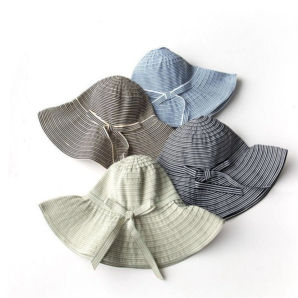 New Stripes Butterfly Knot Visor Fisherman Hat Lady Hat Summer Outdoor Sunscreen Folding Casual Soft Hat