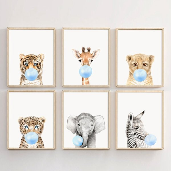 Kunst HD Drucke Leinwandbilder Wohnkultur Blasen Blase Wandmalerei Lion Zebra Giraffe Tiger Nordic Poster Wohnzimmer Modular