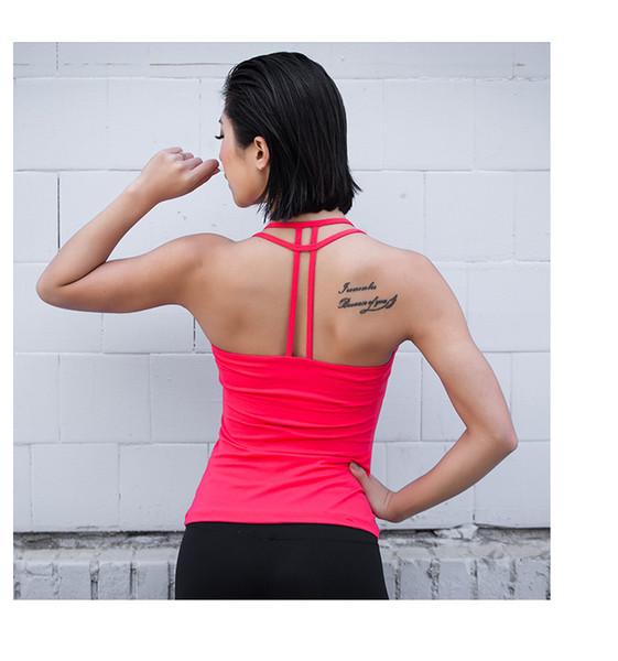 Livraison gratuite Eshtanga femmes Yoga Backless évider Débardeurs Avec matelassée Fitness Gym Gilet 4 extensible Vêtements Taille