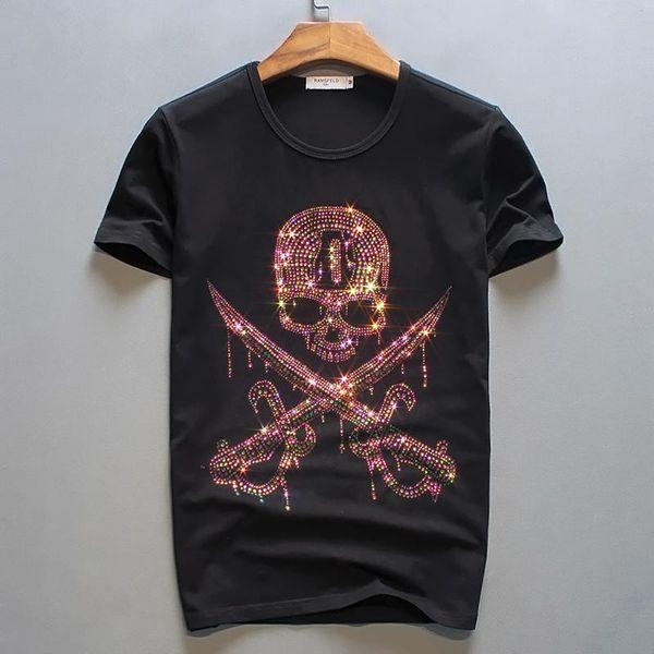 T-Shirts der Männer 4 Farbsommer heiße bohrende Schädelkopfdruck-T-Stücke schließen Hülsenbaumwollt-shirts kurz