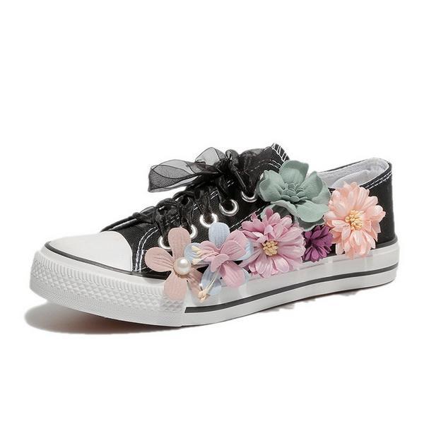 Turnhalle Casual Herbst Student Canvas Schuhe, weibliche Blumen, kleine weiße Schuhe, koreanische Ausgabe Spitze, Low-Up flache Sohlen Sport Damenschuhe