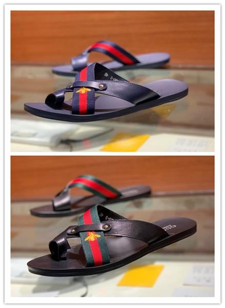 Best Quality Men Designer Slides Paris Slippers Sandals Flip Flops Real Leather Sandals Men Slides Sandals With Dust Bag Size 38-45