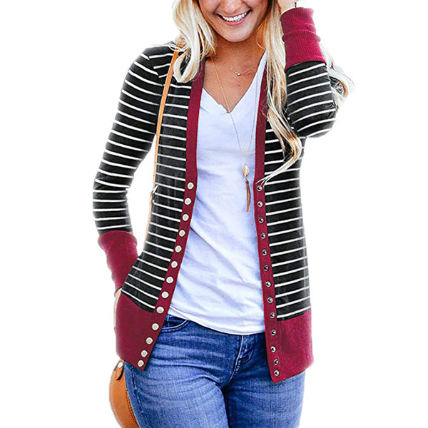 1PC Stripes Printing Jackets Cardigans Casual Blouse Outwear Long Sleeve Loose Sweater Women Short Coats Spring and Autumn S-3XL
