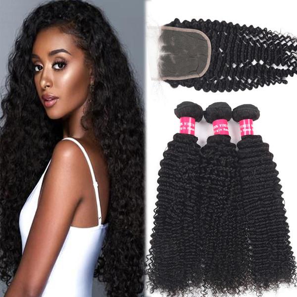9A El cabello humano rizado rizado brasileño de Remy teje 3 paquetes con el cierre del cordón 4X4 La onda profunda rizada suelta el pelo recto del cuerpo profundo con el cierre