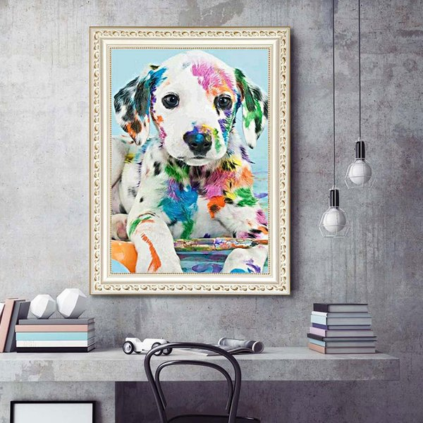 1pcs DIY 5D Diamond Painting Kits Embroidery Colorful Dog Cross Stitch kits living room mosaic pattern Home Decor 30*40cm