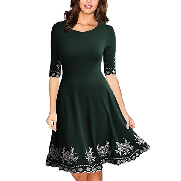 2019 Women Fashion Fit and Flare Print Casual Dress Half Sleeve O-neck Print Casual Slim S-5XL Dress