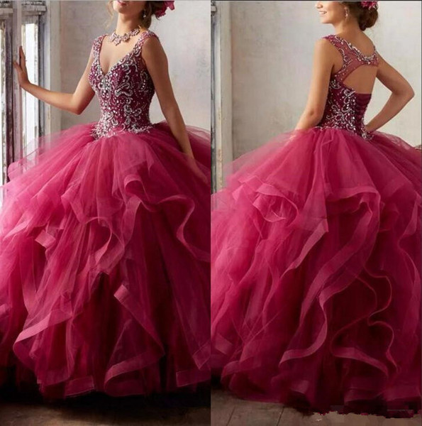 Tulle Ruffles Ball Gown Quinceanera Dresses Beaded Stones Top Layered Hollow Back Floor Length Prom Party Princess sweety 16 girls Dresses
