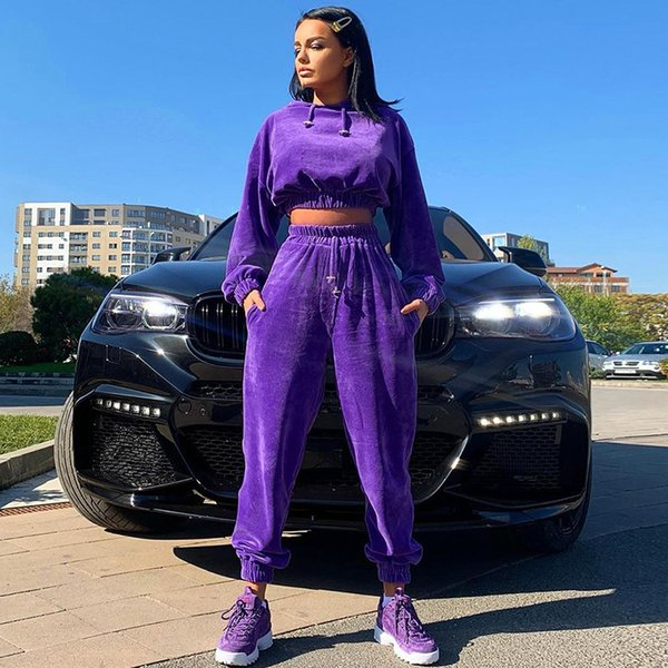 Womens Designer Tracksuits New Fashion Casual Sequin Stitching Hoodies Sports Suit Women 2020 Winter New Style Hot Selling