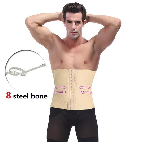 wholesale Mens Waist Trainer Slim Body Modeling Belt Hot Shaper Corset 8 Steel Bone Firm Belly Band Pulling Underwear Strap Cincher