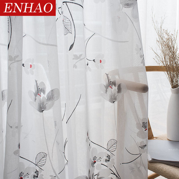 Großhandel ENHAO Floral Modern Sheer Tüll Vorhang Für Wohnzimmer  Schlafzimmer Küche Voile Gardinen Für Fenster Tüll Vorhänge Stoffe  D19011506 Von ...