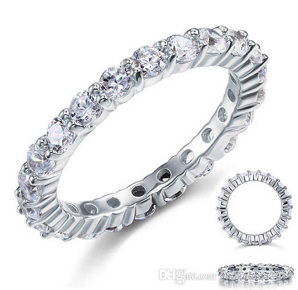 Fashion4U99 marchio di gioielli di lusso Desgin argento sterling 925 topazio bianco pietre preziose rotonde donne anello di fidanzamento di nozze regalo formato 5-11
