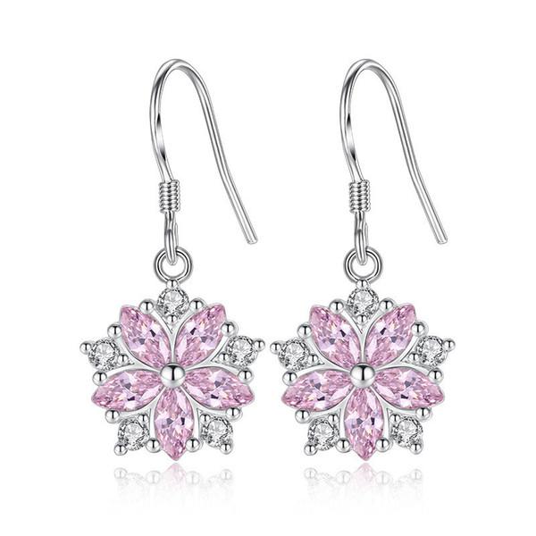 Nette Romantische Rosa Stein Blume Form Bequem Hängen Tropfen Ohrringe Zirkonia Für Frauen Party Eardrop WHE269