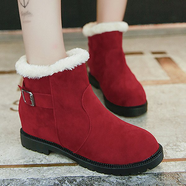 size 35-51 nice new ankle snow boots women autumn fur inside warm shoes woman platform heels female black red casual buckle boot