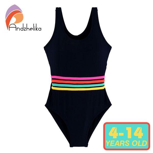 Andzhelika Girls' Swimwear One Piece Swimsuit Girls Solid Swimwear Sports Bodysuit Beachwear Children Swim Suits Bathing Suit